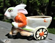 Vintage Tiny Japan Easter Bunny Cart Planter Cutest ... One ... Ever