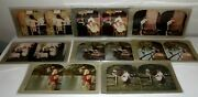 Antique 8 Lot Atlas Stereograph Color Cards Kids And Couples/ladies/ Early 1900's