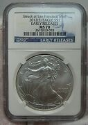 Bu 2012s Silver American Eagle. Ngc Ms70 Early Releases. San Francisco Mint.
