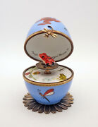 Plays Music French Limoges Box Frog Egg With Red Frog Key Water Music Melody