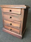Antique Wood Small 10andrdquo Chest Of Drawers Jewelry Box Salesman Sample