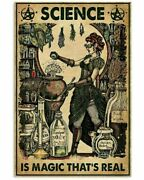 Vintage Halloween Science Is Magic Witch Poster Art Print Decor No Frame Funny