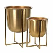 Sagebrook Home 14629 Metal Planters On Stand 13/10 H Gold Set Of 2 9 X 9 X 13