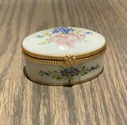 Vintage Limoge Oval Trinket Box With Flowers And Pink Ribbon