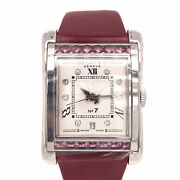 Bedat And Co. No. 7 Automatic Silver Dial Ladies Watch Maroon Strap Pink Sapphire