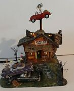 Dept 56 Snow Village Halloween Animated Rustyand039s Used Cars Working Perfectly