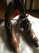 Womenand039s Antique Lace Up Victorian Brown Tan Size 5 2 Heel