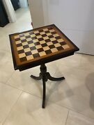 Antique 19c Victorian Chess Table With Storage