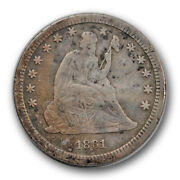 1861 S Seated Liberty Quarter Very Fine Vf Details Damaged Key Date R1249