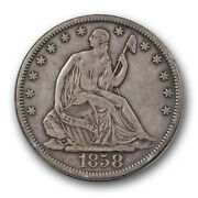 1858 S Seated Liberty Half Dollar Very Fine To Extra Fine Better Date Tough R...
