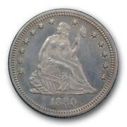 1880 25c Seated Liberty Quarter About Uncirculated To Mint State Key Date R249