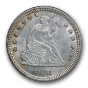 1891 25c Liberty Seated Quarter About Uncirculated To Mint State R252