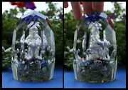 Rare 1800's Sulfide Glass Santa Elf Faceted Old Tall Crystal Paperweight Antique