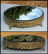 Antique 14 Floral Victorian Brass Scalloped Beveled Plateau Mirror W/ 4 Sm Feet