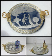 Antique Venetian Glass Deco Silhouette Etch Perfume Cologne Tray Twisted Railing