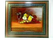 M.jane Doyle Signed Original Art Oil/canvas Painting Winecake And Grapes Framed