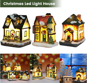 Christmas Decorations Village Led Lights House Resin Small Holiday Gift New Us