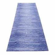2and0397x10and0392 Hand Knotted Zero Pile Pure Wool Only Blue Oriental Runner Rug R66880