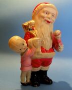 Very Large 9and039 Articulated Celluloid Santa Claus - Prewar Japan