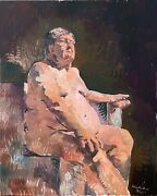 Nude Male Man Impressionism Cubism Large Oil Painting 30x24 Original Signed