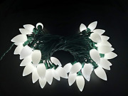 Mxtclm C9 Outdoor Christmas Lights 50 Led Strawberry 35ft Green Wire Cool White