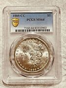 1885-cc Ms64 Gold Shield Morgan Silver Dollar Pcgs Certified Graded Us 1 Coin