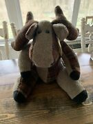 Original Collectible Hand Crafted Patchwork Moose Plush Cabin Decor Usa Made
