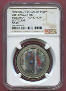 2013 Canada 50c Superman 75th Anniv Then And Now Lenticular Ngc Sp69 W Pkg And Stamp