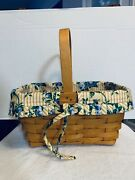 Original Vintage Longaberger 1991- Hand Woven And Crafted Wicker Basket With Liner