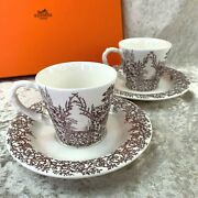 Hermes Les Maisons Enchantees A Pair Of Tea Cup And Saucer Sets Tableware W/ Case