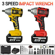 21v 520nm Cordless Electric Impact Wrench Gun 1/2and039and039 Driver Drill With 2 Battery