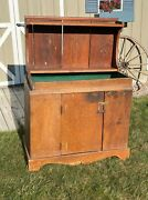 Antique Primitive Country Farmhouse Dry Sink / Cupboard Furniture