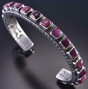 Silver And Purple Spiny Oyster Shell Navajo Bracelet By Ernest Rangel 1f22t