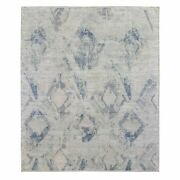 8and039x9and0396 Silver Blue Silk With Textured Wool Modern Hand Knotted Rug R66884