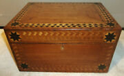 Antique 19th C. Folk Art Inlaid Wood Marquetry Document Jewelry Sewing Box