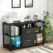Tribesigns New File Cabinet 2-drawer Filing Cabinets With Open Storage Shelves