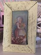 Vintage Original Framed Oil Canvas Sweet Girl With Flowers Cottagecore Painting