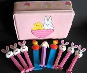 Chick And Bunny Metal Easter Tin W 9 Holiday Pez Dispensers 8.25x6.25x2.25 Free Sh