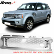 Fits 10-13 Land Range Rover Sport Gray Silver Front Bumper Hood Grille Grill