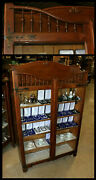 Antique Stick And Ball Oak 2 Door Bookcase Showcase Griffin Hardware Square Nails