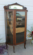Quartersawn Carved Oak Curved Glass China Display Cabinet Bevel Mirror Antique