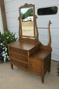 Antique Oak Step Down Hotel Washstand Commode W Floral Lily Harp Andbeveled Mirror