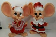 Vintage 1970s Mr. And Mrs. Santa Claus Huron Plastic Big Ear Mouse Banks 10 Tall