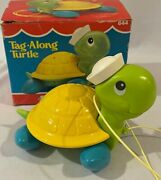Vintage 1977 Fisher Price Tag-along Turtle 644 Original Box Pull Toy 🦋