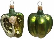 Half Of A Green Bell Pepper Polish Glass Christmas Ornament Set Of 2 Decorations