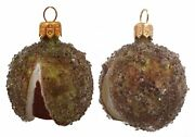 Chestnut Polish Mouth Blown Glass Christmas Ornament Set Of 2 Nut Decorations