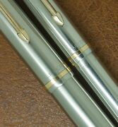 Vintage 1950 Parker 51 Flighter Fountain Pen And Pencil Boxed All Steel Ding Free