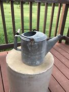 Antique Galvanized Metal Watering Can W/ Short Spout And Wood Grip Bail Handle