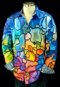 Robert Graham Beaumont Nwt 278 Embroidered Geometric Abstract Ombre Shirt 2xl