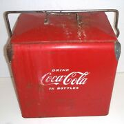 Vintage 1950s Coca Cola Metal Cooler By Acton Mfg With Lid And Bottle Opener